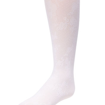 Floral Vine Tights (White)