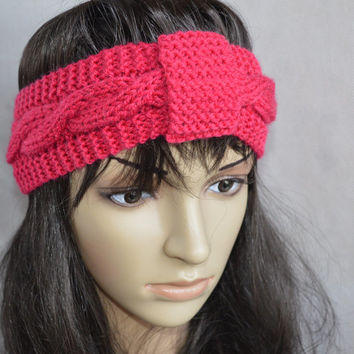 Pink Headband, Dark Pink Accessories, Hand Knit Cable Ear Warmer, Soft and Warm Headband, Wool and Acrylic Blend