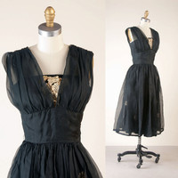 Vintage 1950s Party Dress / NIGHT BLOOMING / by MariesVintage
