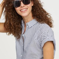 Short-sleeved Cotton Shirt - Light blue/white striped - Ladies | H&M US
