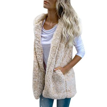 FEITONG Jackets For Women Fashion Vest Autumn Winter Warm Hoodie Outwear Casual Coat Faux Fur Zip Up Sherpa Jacket Hoody Outwear