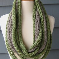 Crocheted Fiber Necklace Scarf Green and Grey by ArtsyCrochet