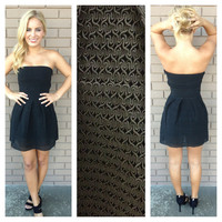 Black Roma Strapless Bandage Dress