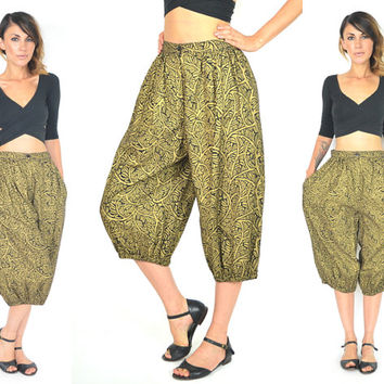 high waisted HAREM ethnic tribal PARACHUTE bohemian TROUSER pants, extra small-medium