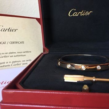 CARTIER LOVE BRACELET, 10 DIAMONDS, PINK GOLD, Size 17 REF:?B6040617 $14,600.