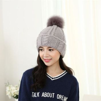 ESBU3C The new knitting wool sweater hat Women thick winter hair ball head cap IGE letters curling warm hat