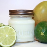 Mango Lime Smoothie Scented Soy Candle - Mason Jar Container Candle