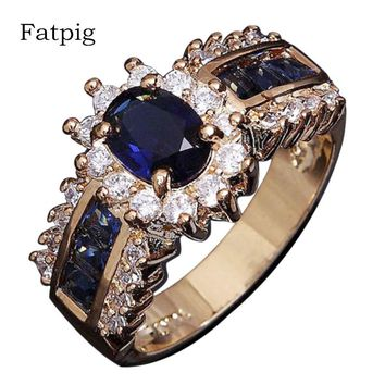 Blue Zircon Crystal Stone Rings for Women Gold Color Engagement Wedding Rings Vintage Female Oval Rings Women's Rings Jewelry
