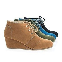 Paddy01 By Bamboo, Round Toe Lace Up Hidden Wedge Heel Ankle Bootie