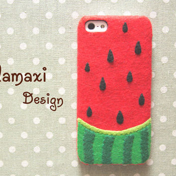 Handmade Felt Watermelon iPhone Case, Summer Watermelon Case for iPhone 4/4S/5/5S/5C, Watermelon iPhone 6/6 Plus Case, Custom Phone Case