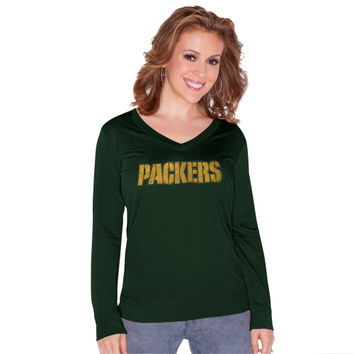 Green Bay Packers Touch by Alyssa Milano Women's Lana V-Neck Pullover Sweatshirt – Green