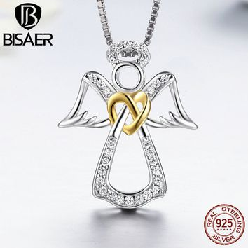 925 Sterling Silver Guardian Angel, Heart ,Feather Pendant Necklaces & Pendant Women Luxury Authentic Silver Jewelry Gift GXN123
