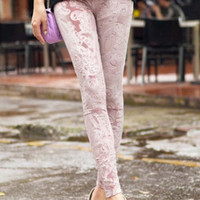Light Pink Embossed Velvet Leggings Design 193