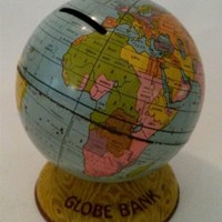 Vintage Tin Toy Coin Bank J Chein Globe Bank World Litho 4""