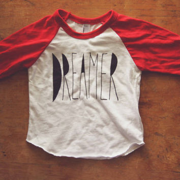 Red and White BABY Baseball Tee Screen Printed DREAMER