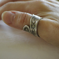 Unisex Thumb Ring Handmade Antique Spoon Ring Silver Gothic Gift for Him Gift for Her