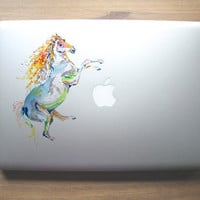 Rainbow Horse clear vinyl decal for laptops