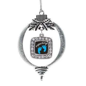 Expecting A Boy Footprints Square Charm Holiday Ornament