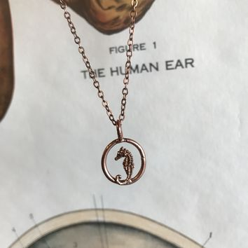 Copper Plated Seahorse Necklace