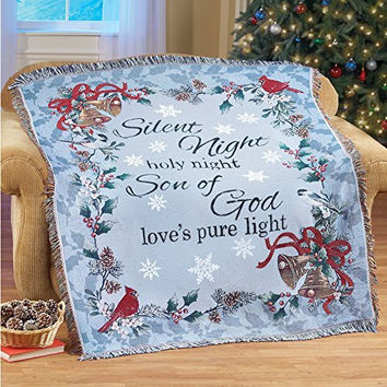 Holly Leaves Song Birds Bells Ribbons Christmas Silent Night Tapestry Throw