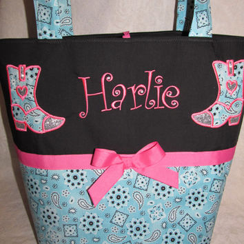 SHIPS FREE handmade custom cowgirl boots counrty bling girl boots bandanna turquoise and pink diaper bag or tote bag  you choose name