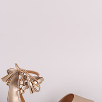 Qupid Metallic Triple Ankle Strap Lace-Up Dorsay Flat