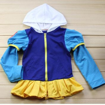 Autumn Girls Coat Snow Queen Elsa Anne Outwear Coat Cotton Baby Kids Clothing Outfits Jackets Cute Hoodies Coat