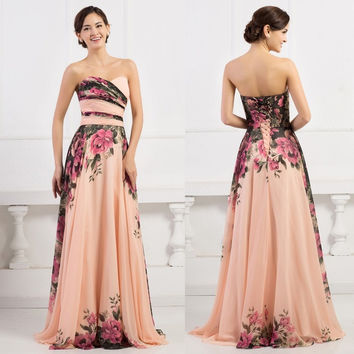 Grace Karin Elegant A-Line Sexy Strapless Flower Print Evening Dress Long Vintage Women Prom Dress Colorful Celebrity Vestidos = 1945990980