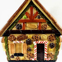 Vintage Large Ceramic Gingerbread House Christmas Cookie Jar