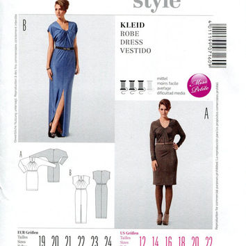 Fitted Jersey Cocktail Evening Day Maxi Dress w/ Kimono Sleeves Sleeveless Pleated Neckline Burda 7160 Size 12 to 22 UNCUT Sewing Patterns