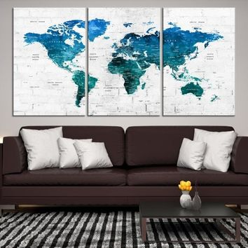 21995 - Turquoise Push Pin World Map Wall Art Canvas Print