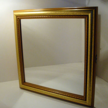 Handmade Mirrored Jewelry Cabinet Wall Display using an Upcycled Gold Frame Mirror