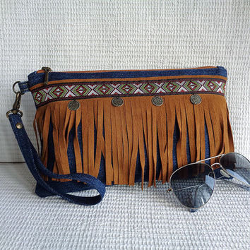 Wristlet clutch with fringe make up cosmetic zipper bag pouch case Gypsy Bohemian Hippie Boho