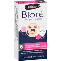 Biore Deep Cleansing Charcoal Pore Strips, 6 count - Walmart.com