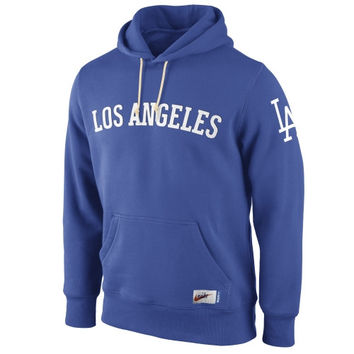 Nike L.A. Dodgers Cooperstown Collection Wordmark Washed Pullover Hoodie - Royal Blue