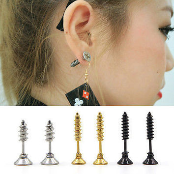 Men Women Stainless Steel Fine Whole Screw Stud Earrings Unisex