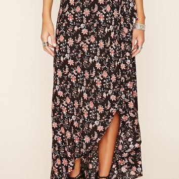Wrap-Front Floral Print Maxi Skirt