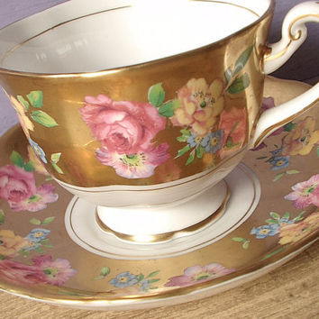 vintage gold tea cup and saucer set, Royal Chelsea English tea set, antique bone china tea cup, pink roses cup