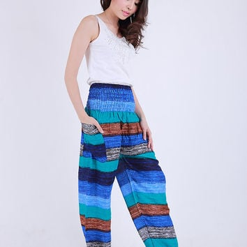 Mix candy sky ocean blue surf  Elephant pants /Hippies pants /Boho pants one size fits harem pant