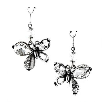 antiqued silver clear crystal butterfly earrings