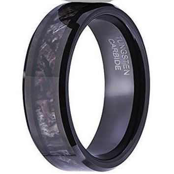 8MM Camouflage Hunting Mens Black Tungsten Ring Camo Polished Wedding Band