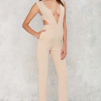 Lady in the Streets Plunging Jumpsuit - Beige