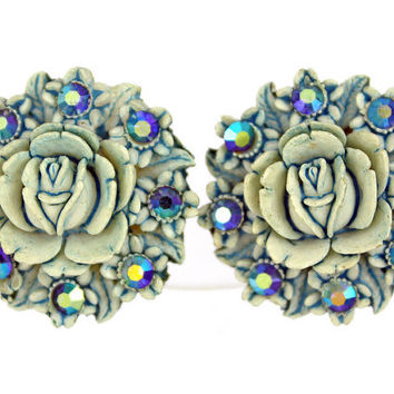 1950s Vintage Earrings, Featherweights, Wedding Cake Roses and Rhinestones, Free Shipping
