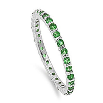 925 Sterling Silver CZ Stackable Eternity Simulated Emerald Ring 2MM