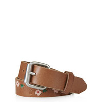 Floral Painted Skinny Leather Belt - Tan