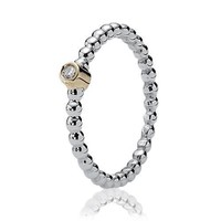 PANDORA Two-Tone Bubble Diamond Ring - Size 6