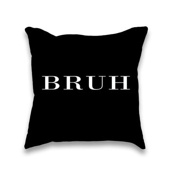 Bruh Brit Typography Throw Pillow