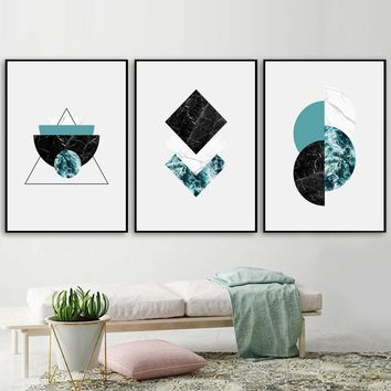 Marble Geometric Wall Art Canvas Painting Nordic Posters And Prints Pop Art Canvas Prints Wall Pictures For Living Room Decor