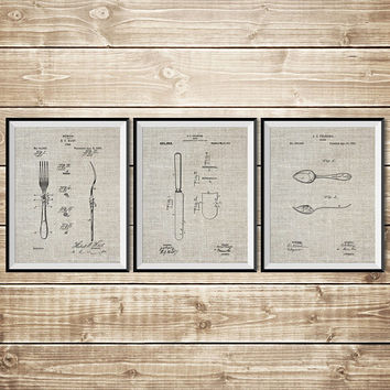 Dinner Wall Decor, Patent Print Group, Knife Wall Art, Fork Wall Decor,Fork Spoon Knife,Fork Wall Art,Dining Room Wall Art, INSTANT DOWNLOAD