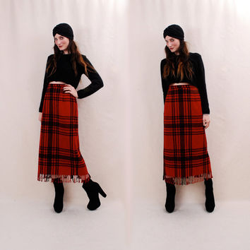WOW 50% OFF Vintage Maxi Skirt m/l - wool plaid skirt, pencil skirt, red black buffalo plaid, high waisted skirt, fringe hem